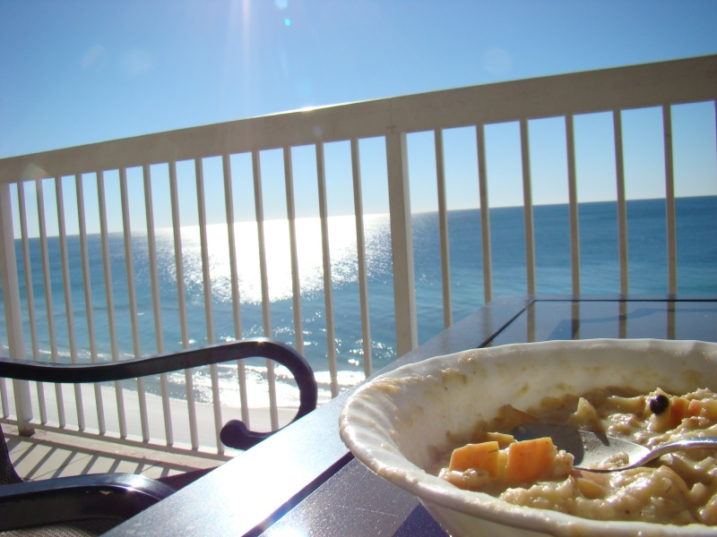 Breakfast on the balcony overlooking the beach. Good morning!!