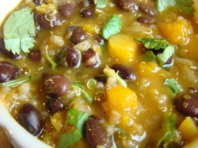 Black bean, squash, kale soup with quinoa
